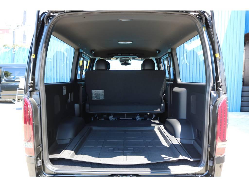 広々としたラゲッジスペース!お仕事にはもちろん車中泊やフィッシングにもおすすめです! | トヨタ ハイエースバン 2.0 スーパーGL ダークプライムⅡ ロングボディ DPⅡ FLEXフルカスタム