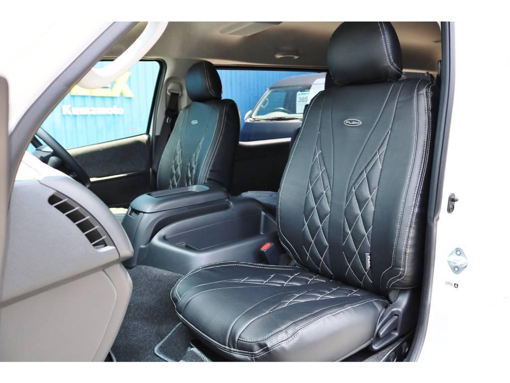 シートカバー付きでお手入れも楽になりますね♪ | トヨタ ハイエース 2.7 GL ロング ファインテックツアラー FLEXカスタム