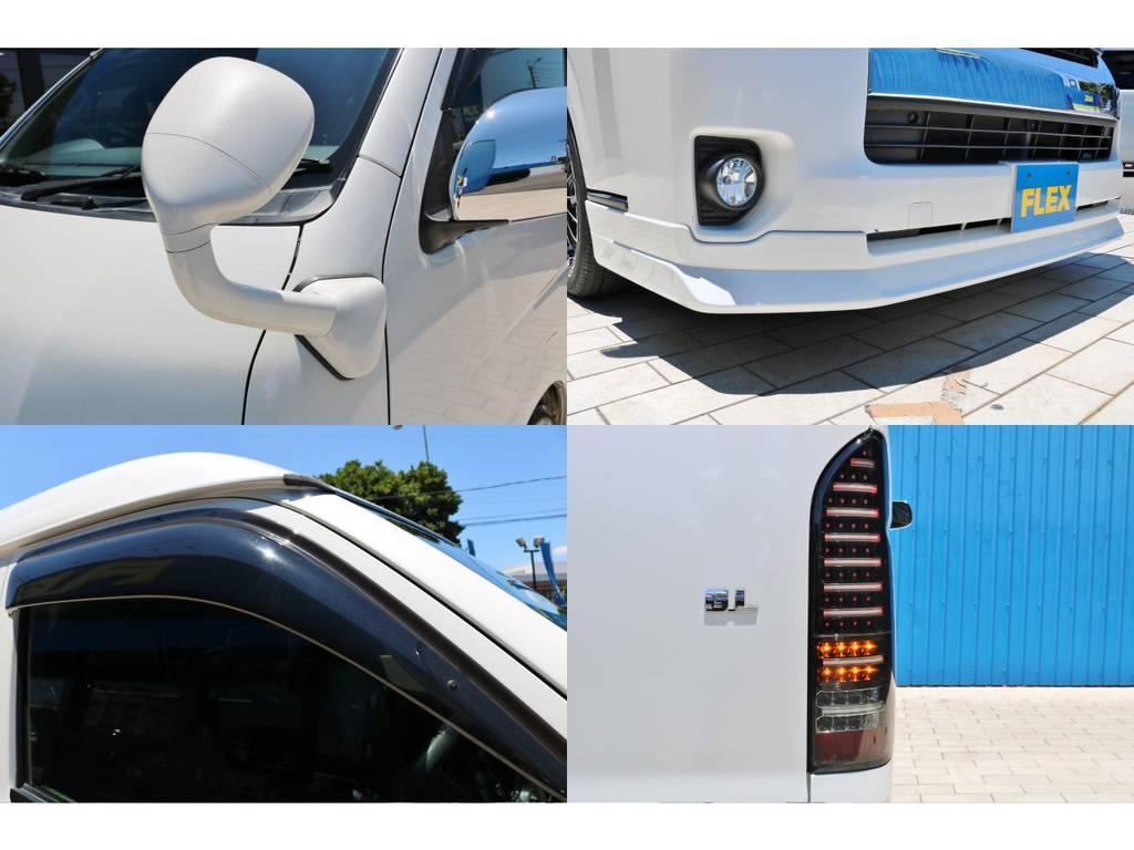 ガッツミラー同色塗装・新品 FLEXオリジナル フロントリップスポイラー・サイドバイザー・ヴァレンティLEDテールランプ