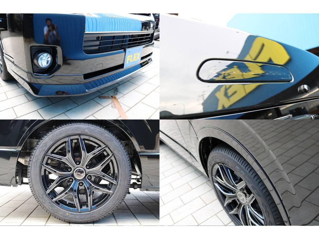 FLEXオリジナルフロントリップスポイラー・ヴァレンティハイマウントストップランプ・FLEXオリジナルオーバーフェンダも装着済み!