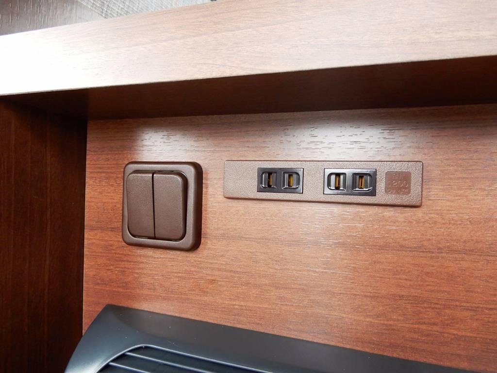 スイッチ・AC電源部!スイッチは左側がメインサブ切り替え、右側がインバーターON/OFFスイッチとなります!