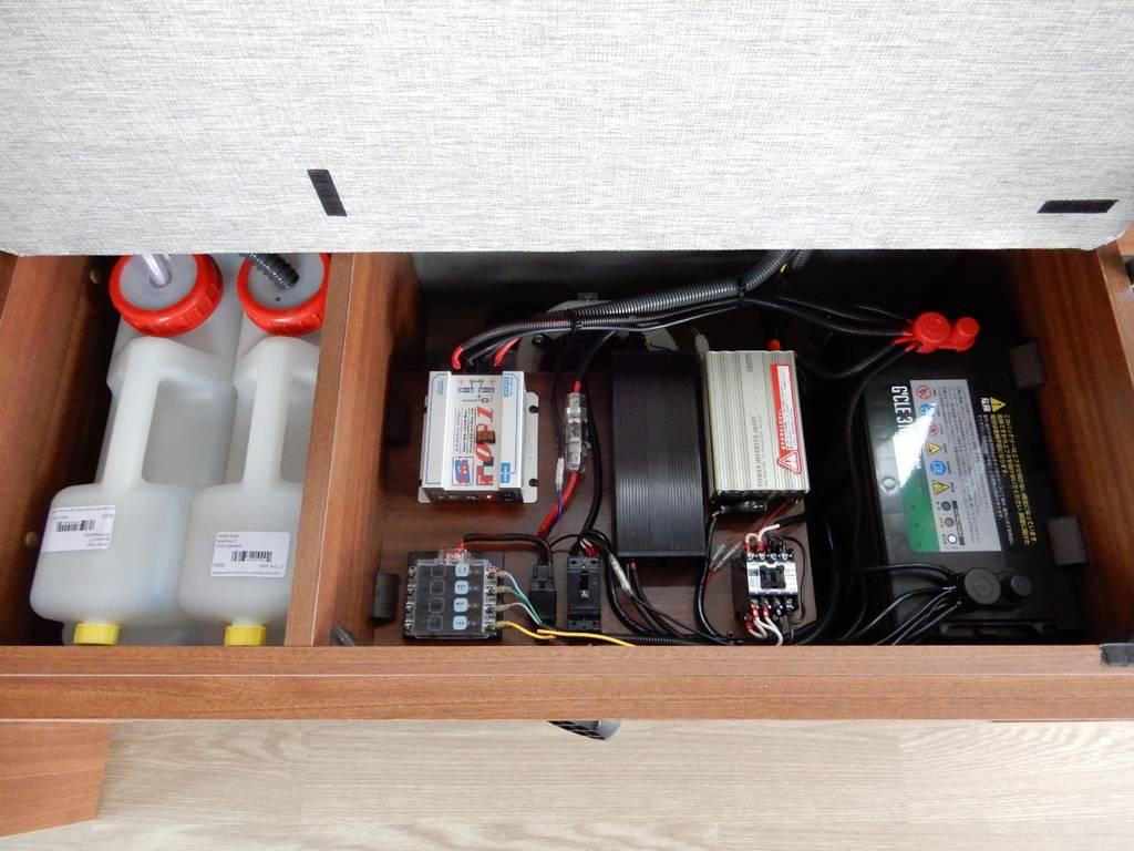 シンク用給水・排水タンクや、サブバッテリーシステム、インバーター、コンバーター、外部充電・走行充電システムは、ベンチシート下一か所にまとめて設置されております。