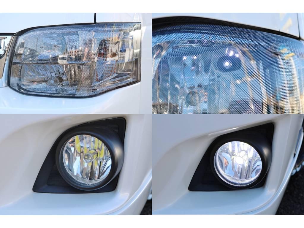 ヘッドライトスモークカバー付き!!各種LEDに交換してます♪ | トヨタ ハイエース 2.7 GL ロング ミドルルーフ ベットキット・ナビ・モニター付き