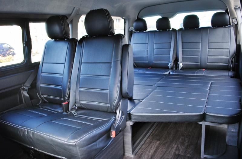 FLEXオリジナルシートアレンジVer1の内装仕様♪   トヨタ ハイエース 2.7 GL ロング ミドルルーフ セーフティー付き Ver1施工