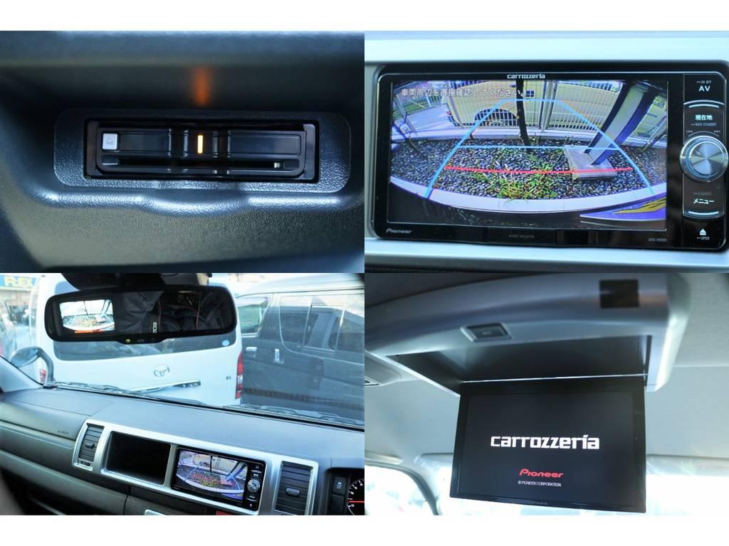 バックカメラ連動施工・ETC・フリップダウンモニター搭載♪   トヨタ ハイエース 2.7 GL ロング ミドルルーフ セーフティー付き Ver1施工