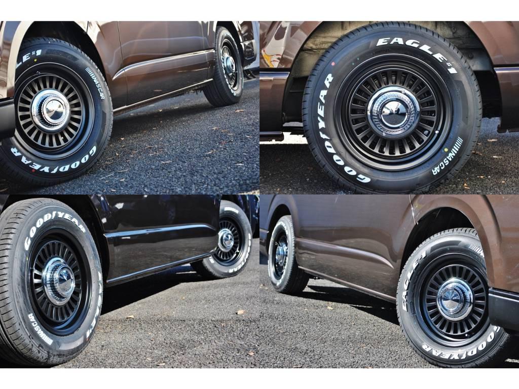 ディーン カリフォルニアアルミホイールとホワイトレターのGOODYEARタイヤです!   トヨタ ハイエース 2.7 GL ロング ミドルルーフ 4WD クラシックリノカ オークブラウンパール