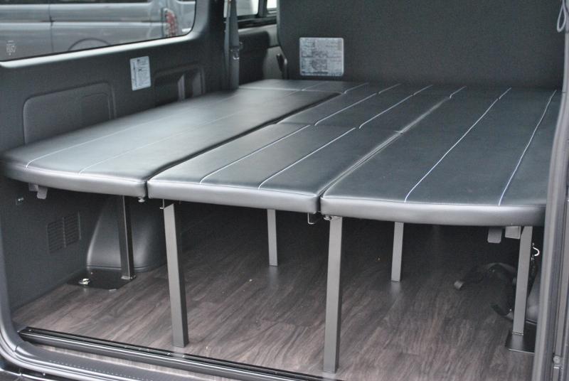 FU-Nベッドキット!跳ね上げ式で広い荷室を確保できます! | トヨタ ハイエースバン 2.0 スーパーGL ダークプライムⅡ ロングボディ PS無 ARRANGE FU-N