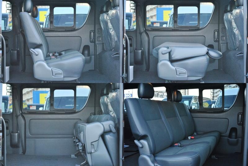 後席は折りたたむことも出来ます! | トヨタ ハイエースバン 2.0 スーパーGL ダークプライムⅡ ロングボディ PS無 ARRANGE FU-N