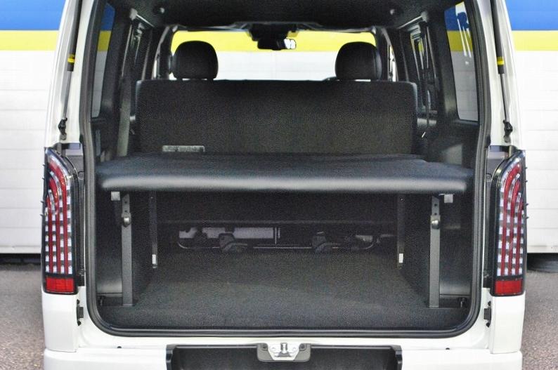 当社オリジナルベッドキットは高さ調整機能付きです♪ | トヨタ ハイエースバン 2.8 スーパーGL ダークプライムⅡ ロングボディ ディーゼルターボ 4WD 小窓付き