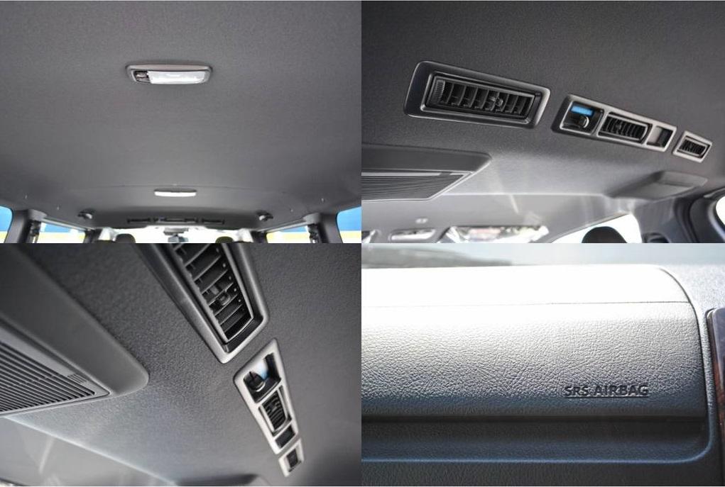 天井はシックな黒で統一されてます♪   トヨタ ハイエースバン 2.8 スーパーGL 50TH アニバーサリー リミテッド ロングボディ ディーゼルターボ 4WD TSS付 パワスラ付き