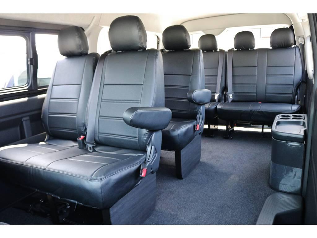 全席にレザー調シートカバー施工済みで匂いや汚れなどが付きにくいです! | トヨタ ハイエース 2.7 GL ロング ミドルルーフ TSS付 GDアイズ仕様