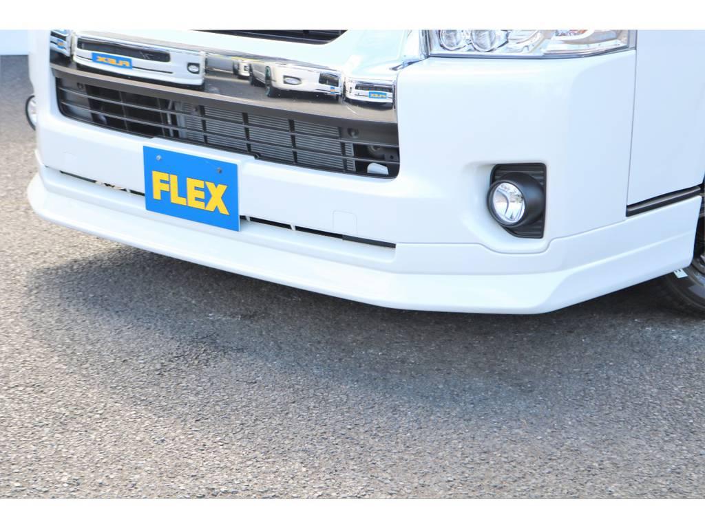 オリジナルデルフィーノフロントスポイラー装着! | トヨタ ハイエース 2.7 GL ロング ミドルルーフ 4WD セーフティー付き ナビ・エアロPKG