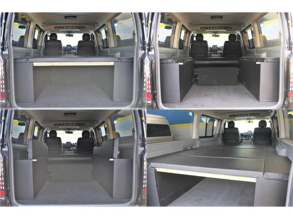 ベッドキットは両サイド収納付き! | トヨタ ハイエースバン 2.0 スーパーGL ロング エアロ ローダウン アルミ