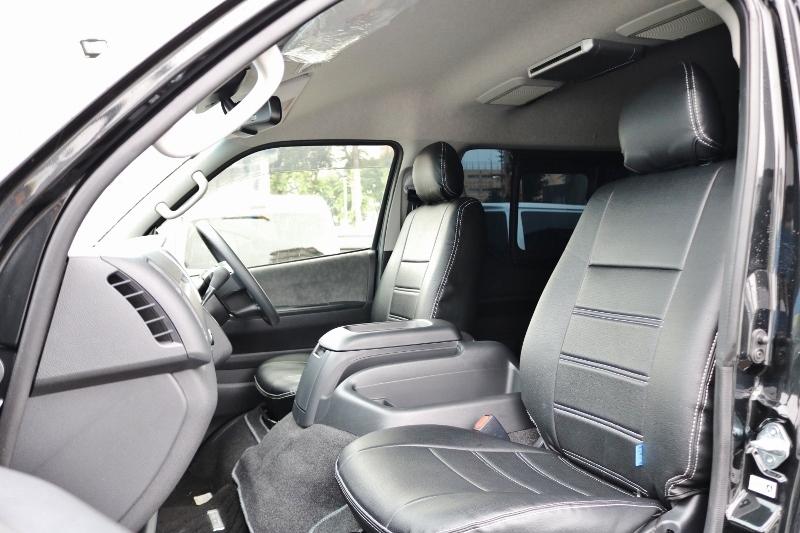 シートカバーを装着しているので高級感があります! | トヨタ ハイエース 2.7 GL ロング ミドルルーフ 4WD 現行ハイエースワゴン 4WD 車検付き
