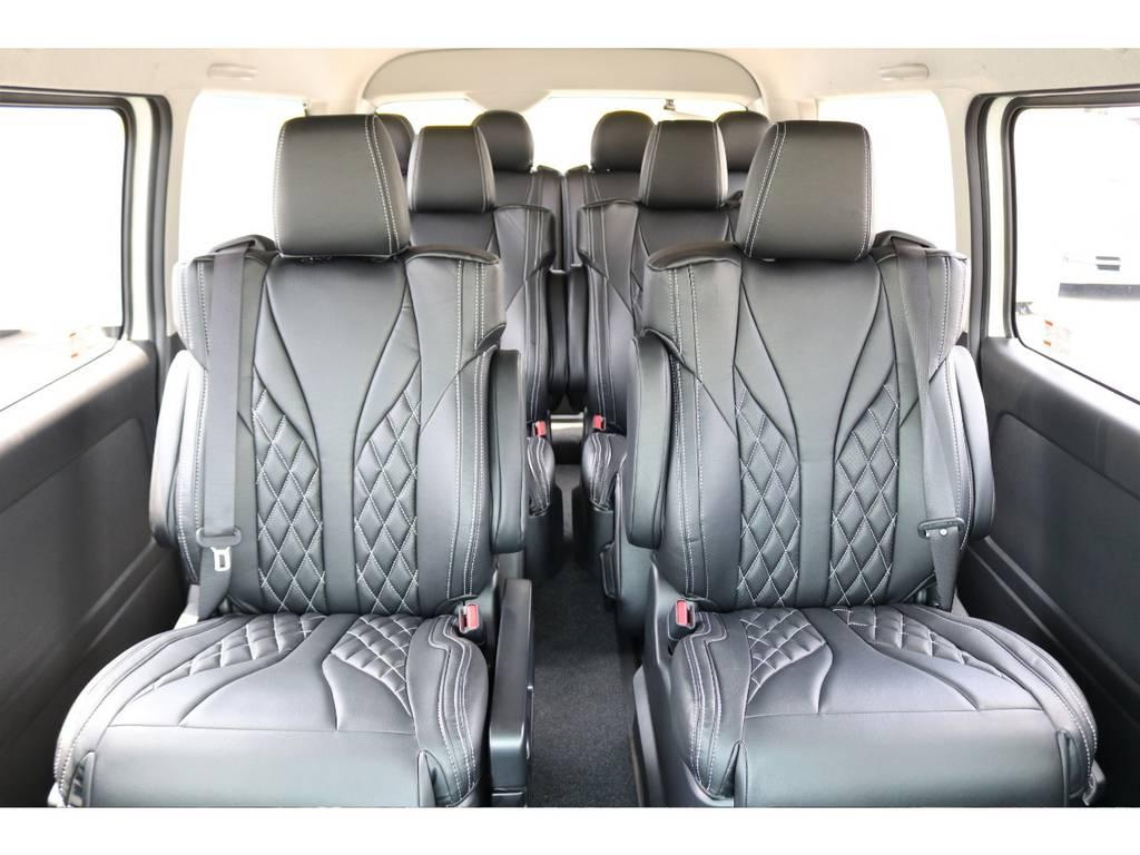シートカバーはダイヤカット柄なのでカッコいいです! | トヨタ ハイエース 2.7 GL ロング ファインテックツアラー 4WD キャプテンシート装着ファインテックツアラ