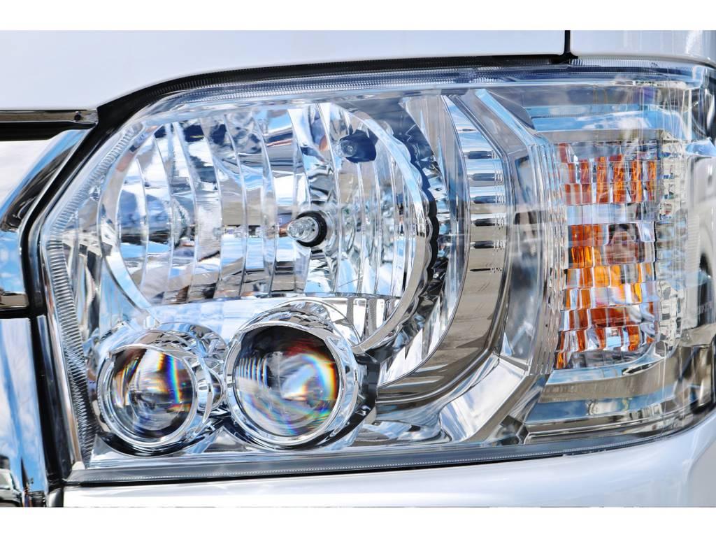 夜間も明るいLEDヘッドライト! | トヨタ ハイエースバン 2.0 スーパーGL ダークプライムⅡ ロングボディ 小窓付き