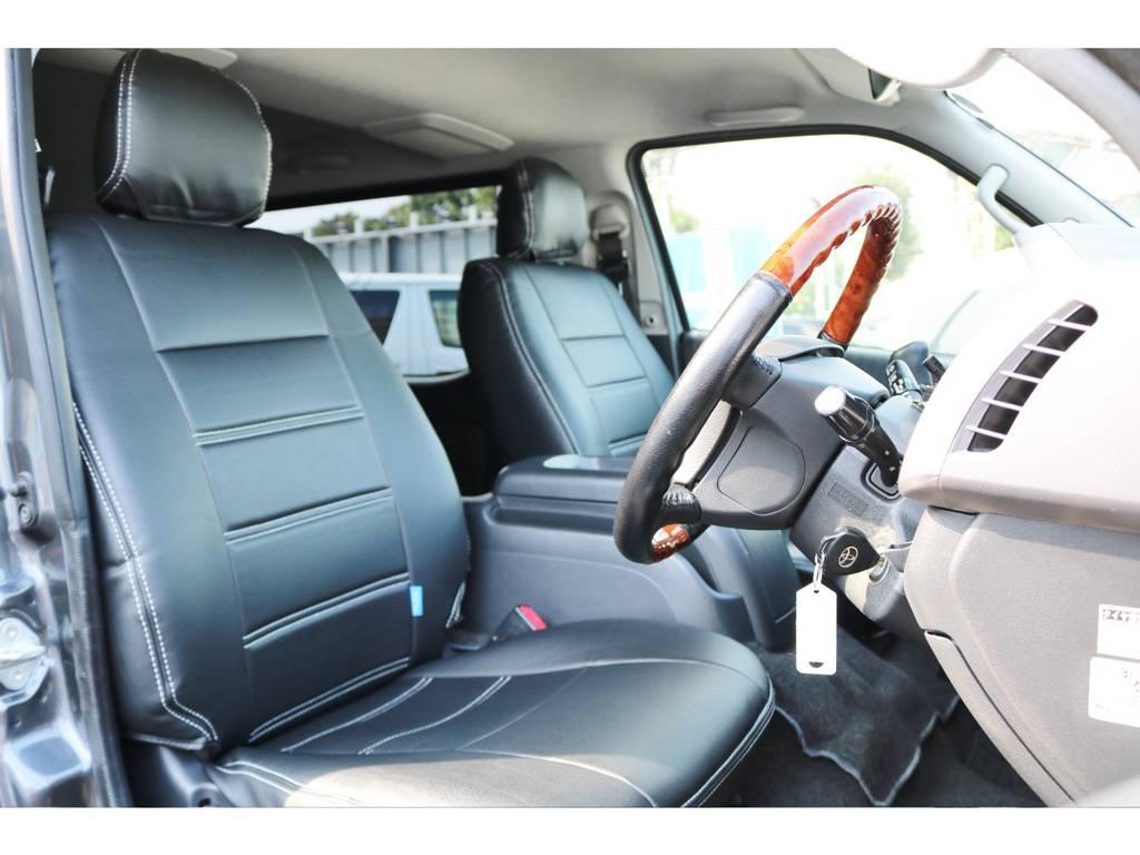 足元が広く座りやすいフロントシートです。   トヨタ ハイエースバン 2.0 スーパーGL ロング グレー ナビPKG