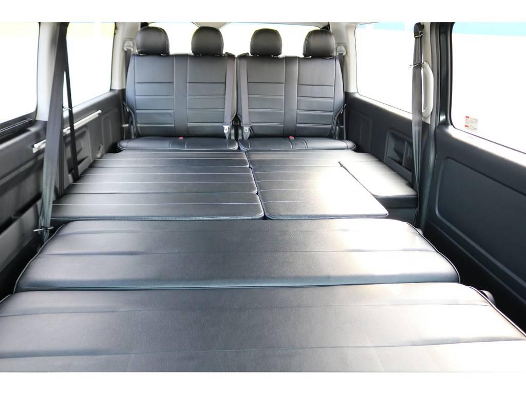 フルフラット可能!車中泊にもってこい♪ | トヨタ ハイエース 2.7 GL ロング ミドルルーフ セーフティー付き Ver2内装施工カスタ