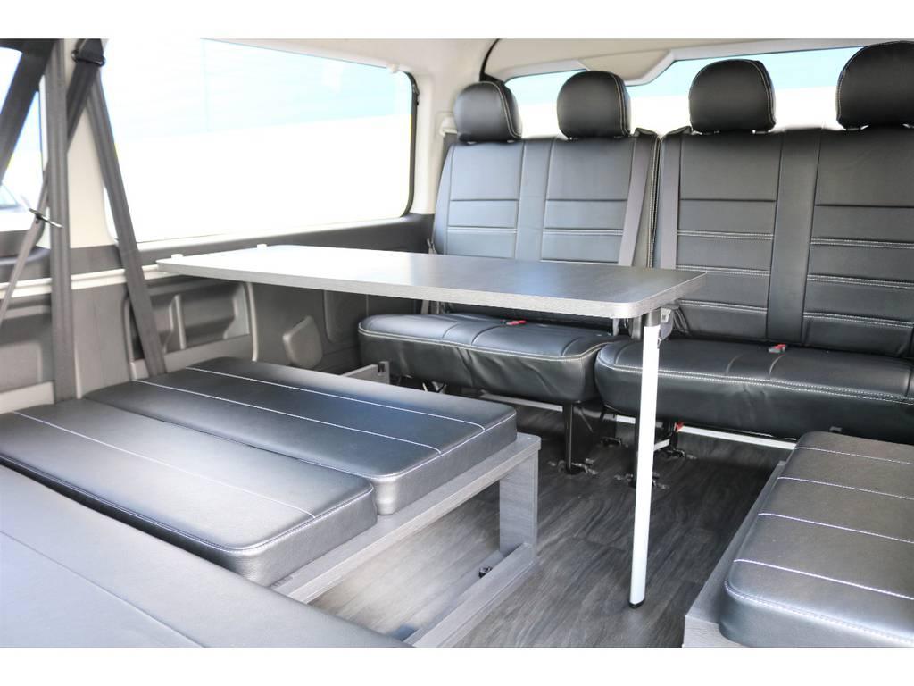 テーブルも付いてます♪ | トヨタ ハイエース 2.7 GL ロング ミドルルーフ セーフティー付き Ver2内装施工カスタ