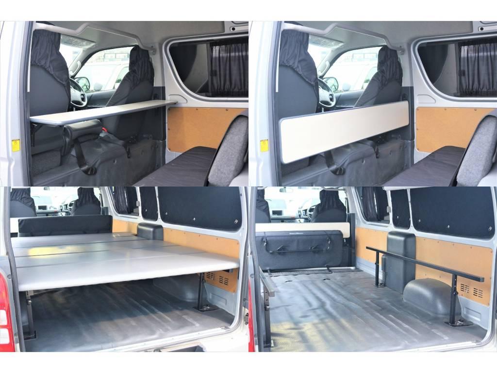 折りたたみのテーブルに取り外しのベッドと豪華な仕様♪ | トヨタ ハイエースバン 2.7 DX ワイド スーパーロング ハイルーフ GLパッケージ 4WD 4WD ベット キャリア ヒッチカーゴ