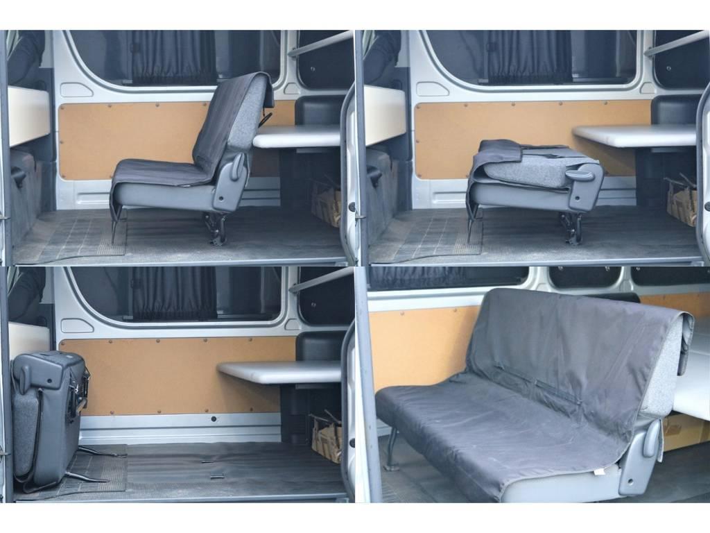 2列目は折りたたみ可能♪ | トヨタ ハイエースバン 2.7 DX ワイド スーパーロング ハイルーフ GLパッケージ 4WD 4WD ベット キャリア ヒッチカーゴ