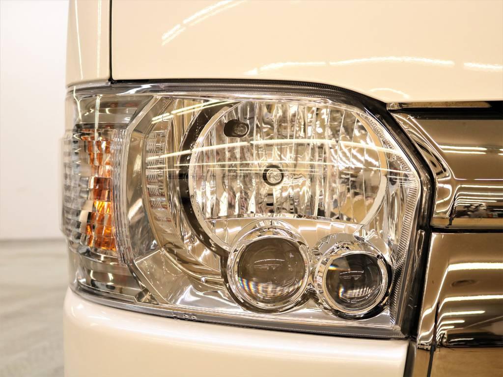LEDヘッドライトは標準装備です! | トヨタ ハイエースバン 2.8 スーパーGL ダークプライムⅡ ロングボディ ディーゼルターボ 4WD FLEX Ver4内装架装