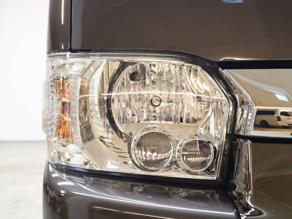 LEDヘッドランプは標準装備です! | トヨタ ハイエースバン 2.7 スーパーGL 50THアニバーサリー リミテッド ワイド ミドルルーフ ロングボディ4WD FLEXベッドキット 煌テール