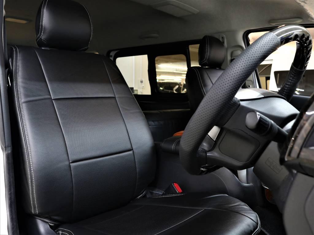 黒革調シートカバー! | トヨタ レジアスエース 2.7 マルチロールトランスポーター タイプⅠ ワイド ロング 4WD 新品レヴィーアヘッドライト 新品ナビ