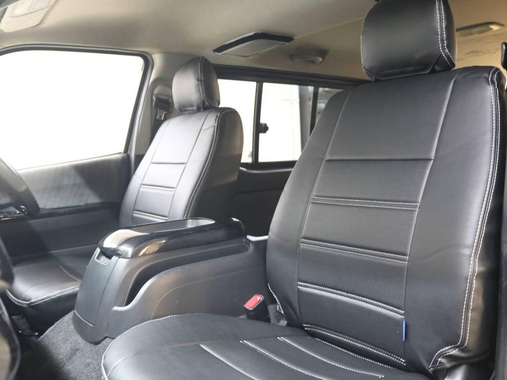新品黒革調シートカバー! | トヨタ ハイエースバン 3.0 スーパーGL ロング ディーゼルターボ 4WD ユーアイマルチウェイフォルドベットキット
