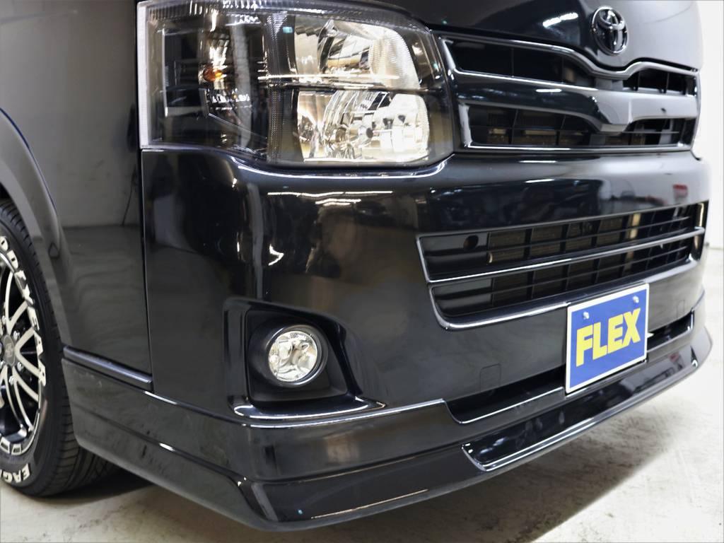 新品FLEXオリジナル【DelfinoLine】フロントリップスポイラー! | トヨタ ハイエースバン 3.0 スーパーGL ロング ディーゼルターボ 4WD ユーアイマルチウェイフォルドベットキット