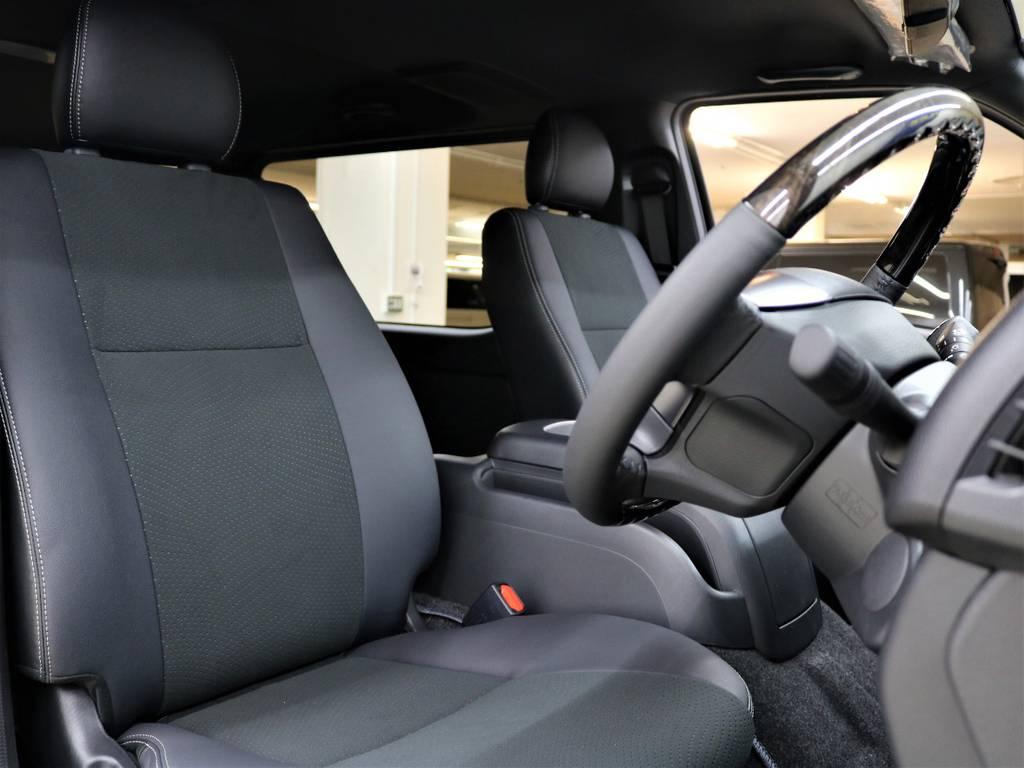 ダークプライム2専用ハーフレザー表皮シート! | トヨタ ハイエースバン 2.8 スーパーGL ダークプライムⅡ ロングボディ ディーゼルターボ 4WD フロアボード施工 ウィンカーミラー