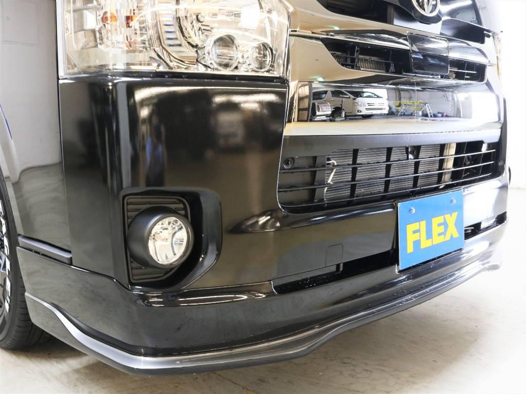 415コブラTYPE Rフロントリップスポイラー! | トヨタ ハイエースバン 2.8 スーパーGL ダークプライムⅡ ロングボディ ディーゼルターボ 4WD フロアボード施工 ウィンカーミラー