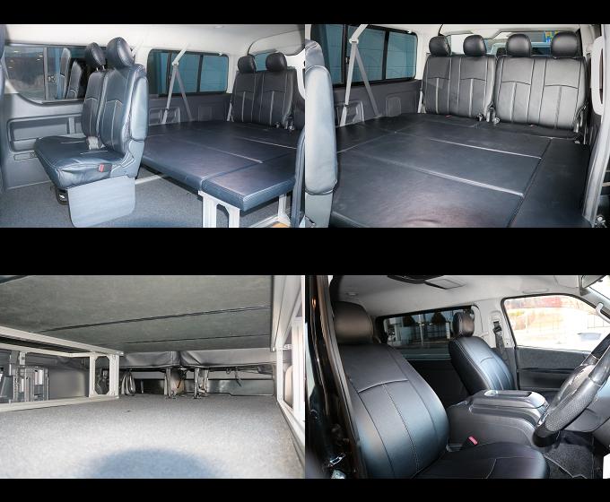 3列目シートを横向きに構造変更する事によりフラットなスペースを確保!! 車中泊も可能なほどのゆとりあるシートアレンジです☆ ベッドマットも簡易に取り外し可能です!! | トヨタ ハイエース 2.7 GL ロング ミドルルーフ