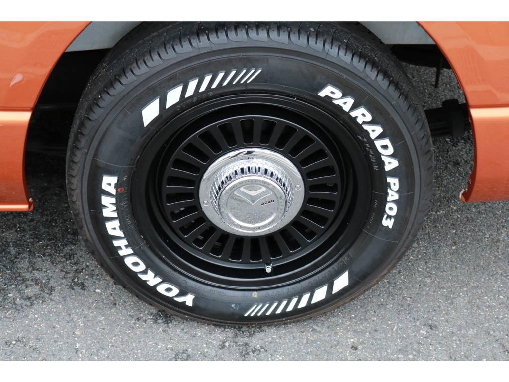 DEENカリフォルニア16AWブラック&パラダホワイトレタータイヤ! | トヨタ ハイエースバン 2.7 スーパーGL ワイド ロング ミドルルーフ RENOCAコーストライン