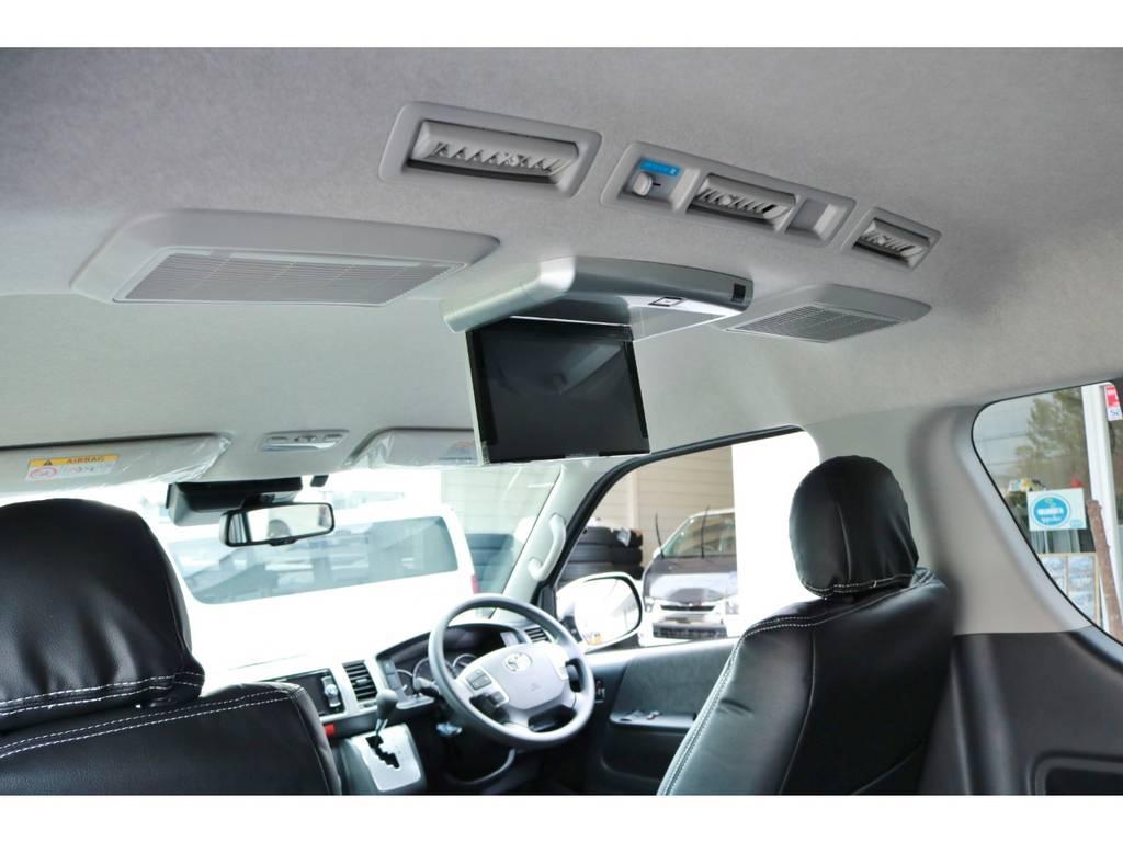 カロッツェリア製フリップダウンモニターも完備! | トヨタ ハイエース 2.7 GL ロング ミドルルーフ 4WD TSS付!寒冷地仕様!アレンジAS!