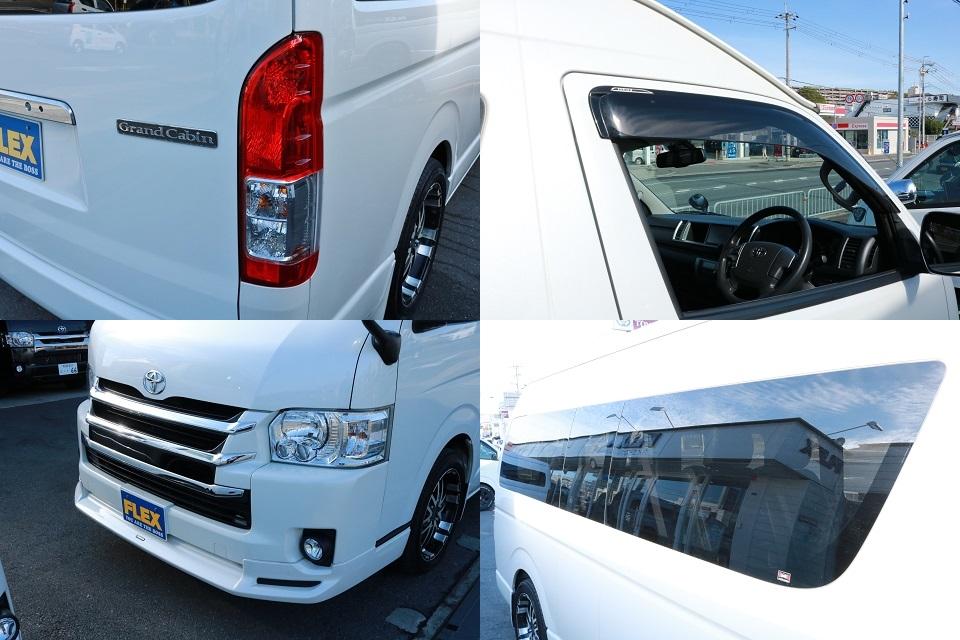 サイドガラス固定式!純正ドアバイザー&フロアマットも完備! | トヨタ ハイエース 2.7 グランドキャビン 4WD ベットキット完備