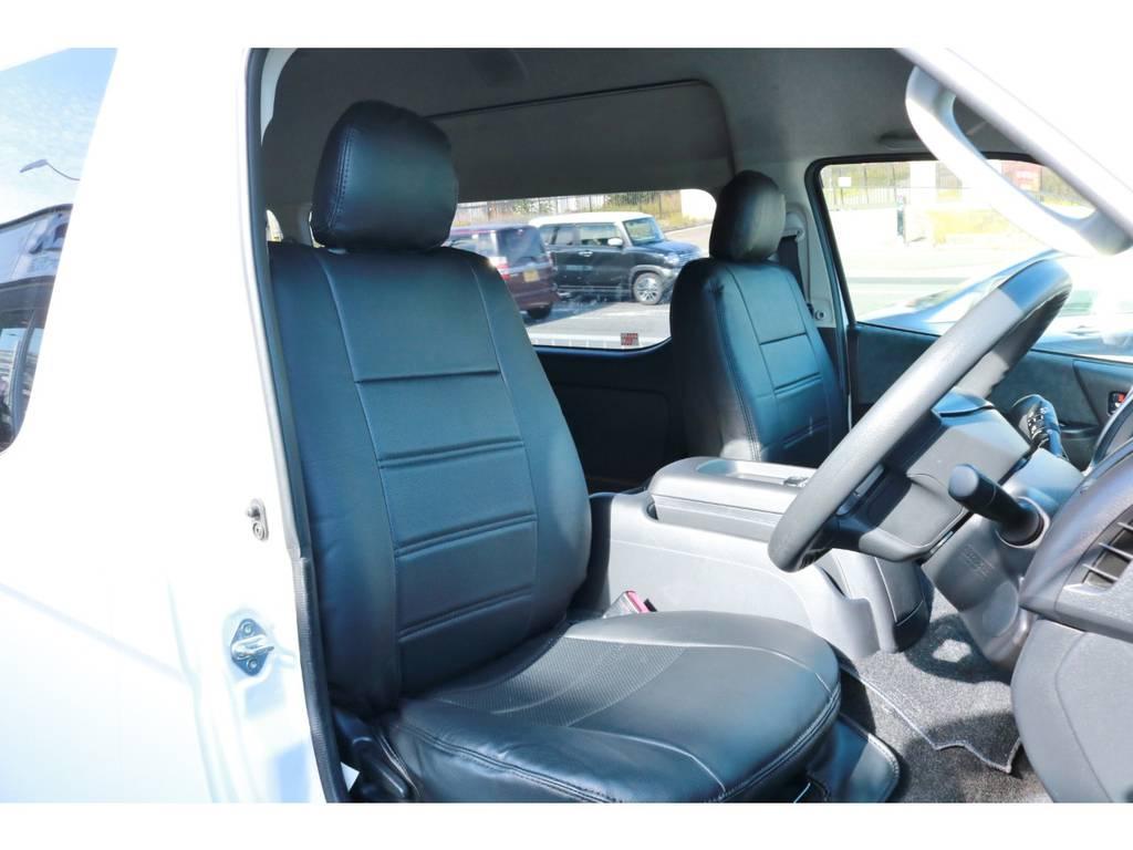 全席ブラックレザーシートカバー! | トヨタ ハイエース 2.7 グランドキャビン 4WD ベットキット完備