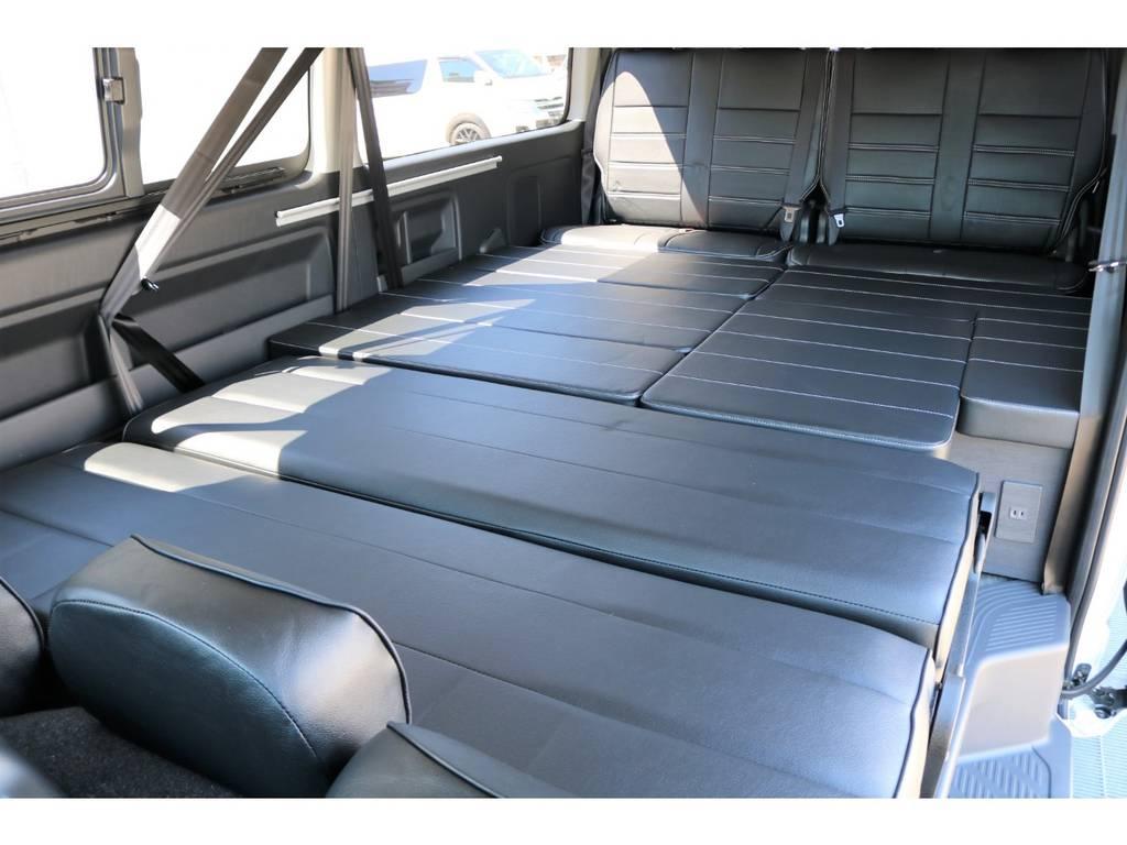 フルフラットモード!広大なベットスペースで家族みんなで車中泊できちゃいます! | トヨタ ハイエース 2.7 GL ロング ミドルルーフ シートアレンジVer.2!即納車可能!