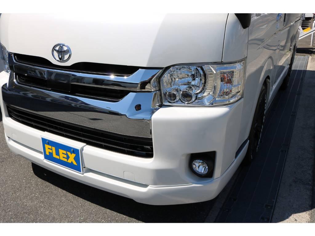 LEDヘッドライト!オリジナルフロントリップスポイラー(内巻きタイプ)! | トヨタ ハイエース 2.7 GL ロング ミドルルーフ シートアレンジVer.2!即納車可能!