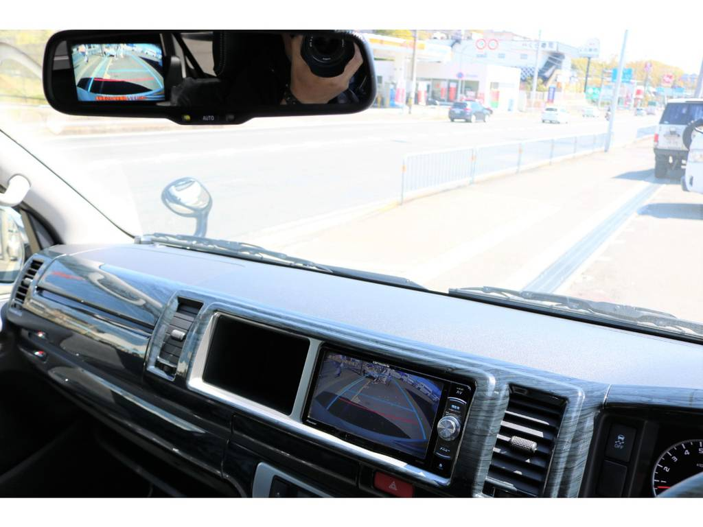純正バックカメラ内蔵自動防眩ミラーの画像をナビ画面へも映るように加工済! | トヨタ ハイエース 2.7 GL ロング ミドルルーフ シートアレンジVer.2!即納車可能!
