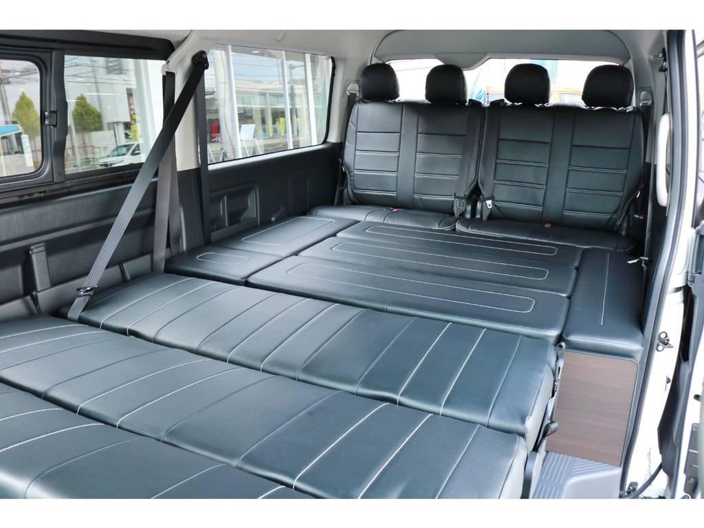 フルフラットモード!大人数での車中泊も可能です!