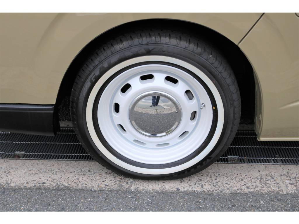 ラグテックネオムーン16AWにホワイトリボンタイヤを新品でインストール!