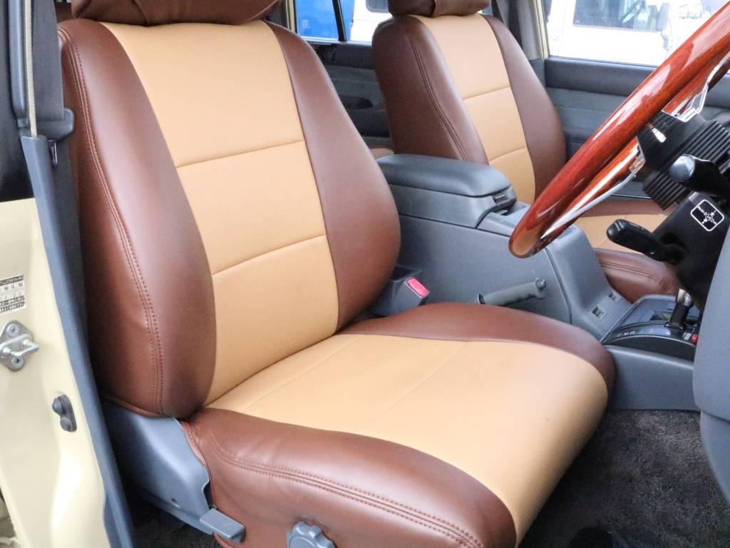 フロントシートは大人の方でもゆったり座れるスペースがございます! | トヨタ ランドクルーザー80 4.5 VXリミテッド 4WD 丸目換装 60フェイス