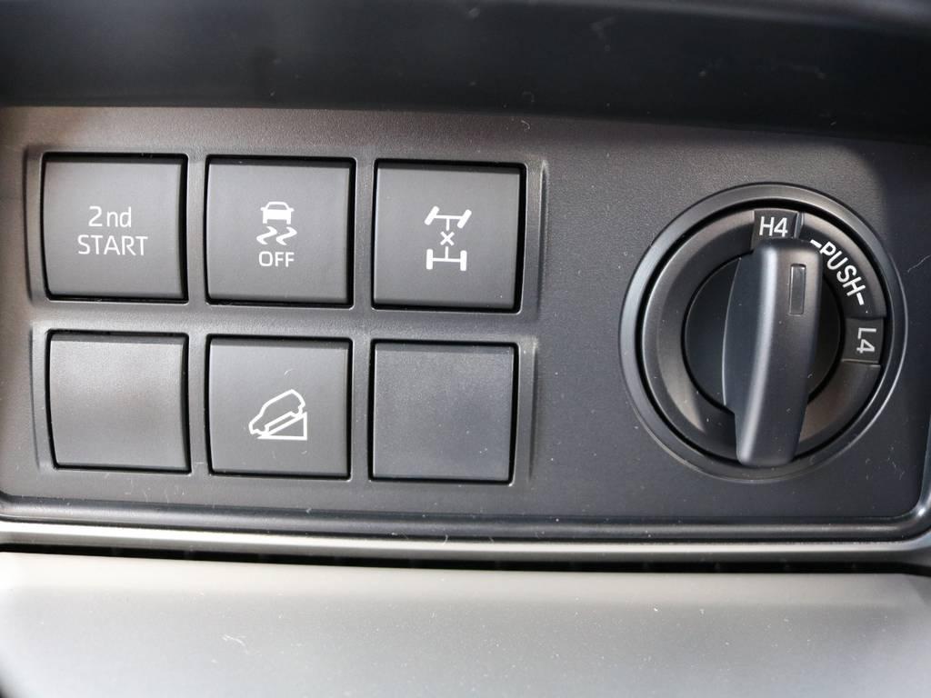 沢山あるボタンからは最新の4WDシステムが活用できます。魔法のボタンを押してみませんか!? | トヨタ ランドクルーザープラド 2.8 TX ディーゼルターボ 4WD 5人