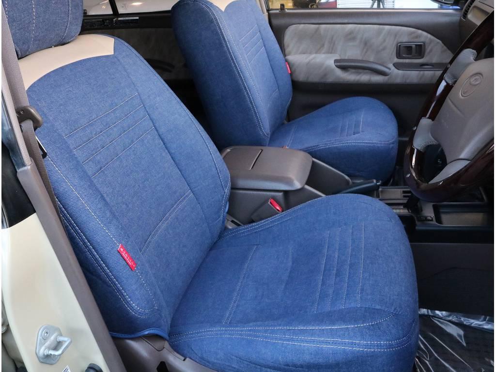 フレックスオリジナルデニムシートカバー装着済です。外装のお色と相性抜群です。 | トヨタ ランドクルーザープラド 3.4 TX 4WD