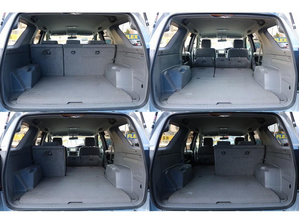 シートアレンジが多種多様になります!大きい荷物も載せることも出来ますし、車中泊も問題なく出来ちゃいます!!