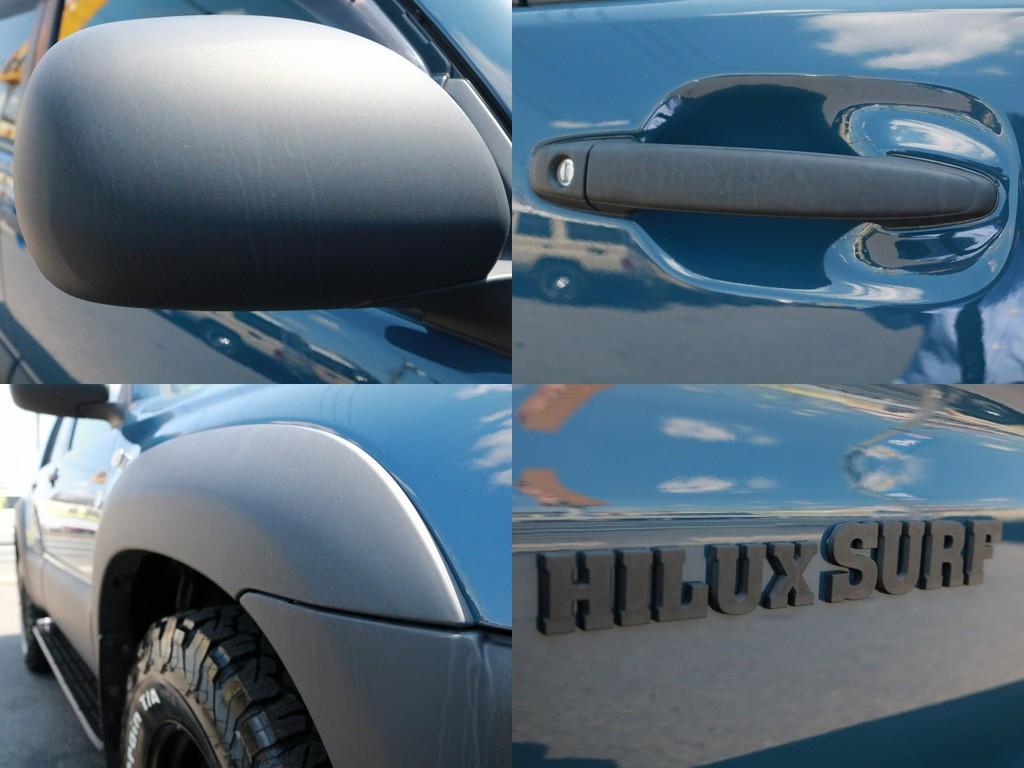 細かい所まで、マットブラック塗装を施工していますので、215サーフのオーナー様よりの一味違ったお車になります。