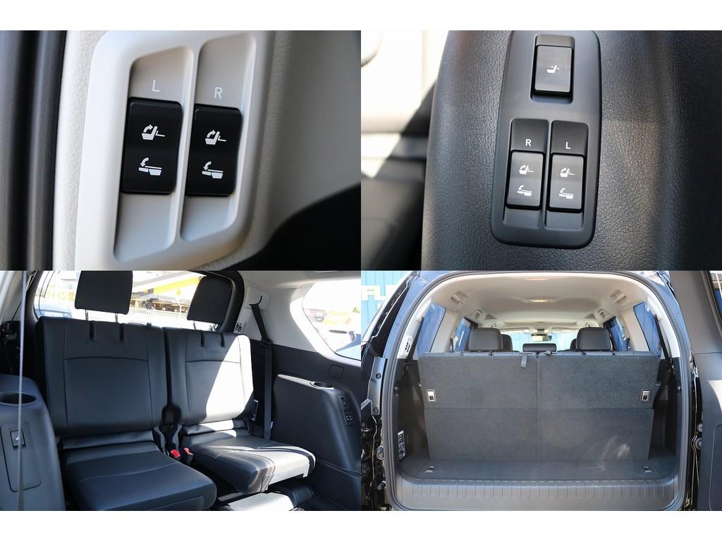 3列目シートは電動になります!ヘッドレストも電動になりますので、とても便利です!奥様の手が塞がっている時もボタンを押すだけでシートがフラットになります!