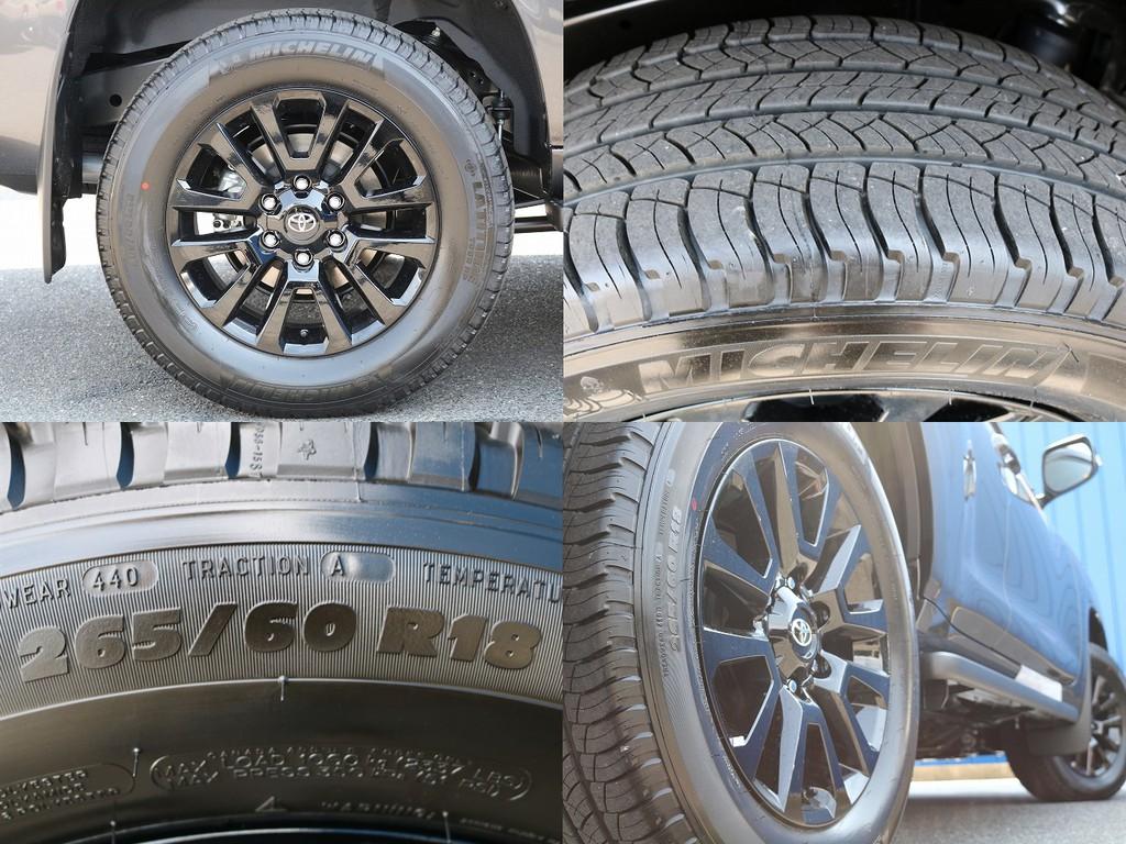 ブラックエディション専用ホイール×純正タイヤ(265/60/18)になります。TXグレードでは17インチになるのですが、ブラックエディションは標準で18インチになります。