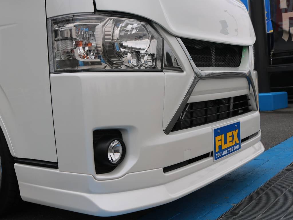 デルフィーノラインボンネット&リップスポイラー!グリルはESSEXフロントグリルにメッキエクステンション付き! | トヨタ ハイエースバン 2.0 スーパーGL ダークプライム ロングボディ